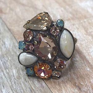 Sorrelli Apricot & Multi Stone Cluster Ring,NWT